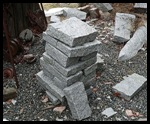 Granite pavings cut one at a time.